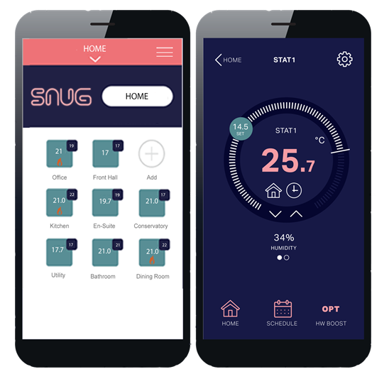SnugStat App Home Screen and thermometer